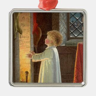 Vintagejul, barn som värme vid spisen silverfärgad fyrkantigt julgransprydnad