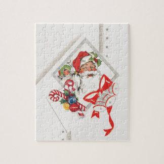 Vintagejul, jultomten med candy cane pussel