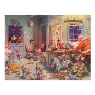 Vintagejul, jultomten och älvaseminarium vykort