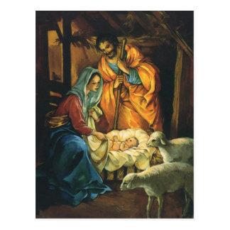 Vintagejul Nativity, baby Jesus i Manger Vykort
