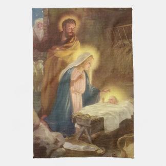 Vintagejul Nativity, Mary Joseph baby Jesus Kökshandduk