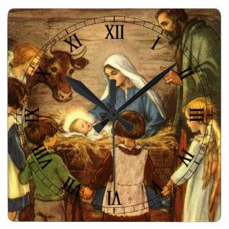 Vintagejul, religiös Nativityw-baby Jesus Fyrkantig Klocka