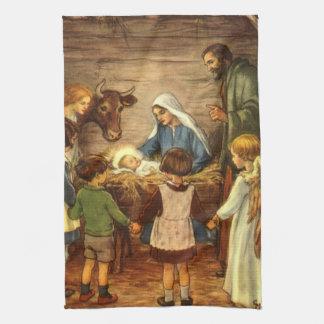 Vintagejul, religiös Nativityw-baby Jesus Kökshandduk