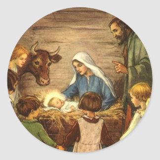 Vintagejul, religiös Nativityw-baby Jesus Runt Klistermärke