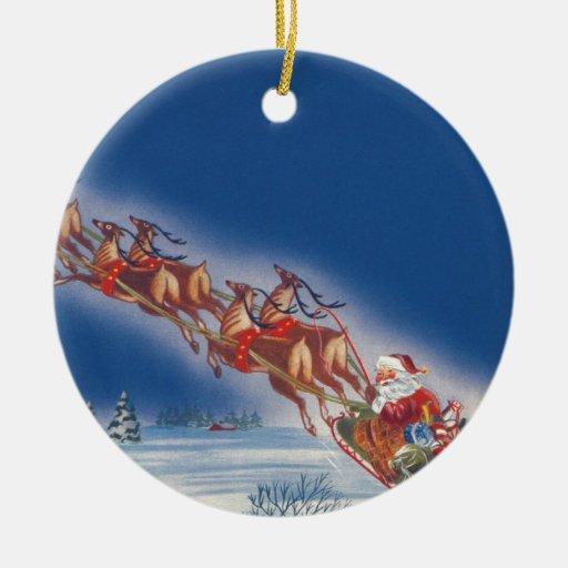 Vintagejul, ren för Santa flygSleigh Jul Dekorationer