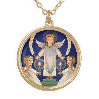 Vintagejul, skandinavSanta Lucia änglar Guldpläterat Halsband