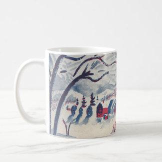 Vintagejul, Snowscape med vinterbyn Kaffemugg