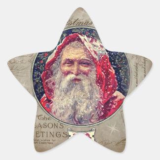 Vintagejul Stjärnformat Klistermärke