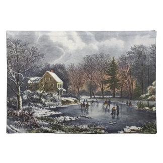 Vintagejul, tidiga vinterskater på damm bordstablett