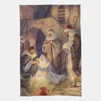 Vintagejul, tre shepherds och baby Jesus Kökshandduk