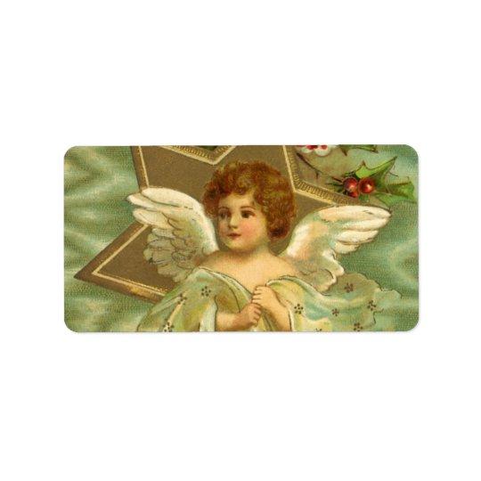 Vintagejul, Victorianängel med guld- stjärnor Adressetikett