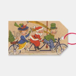 Vintagejul, Victorianjultomten på cykeln Presentetikett