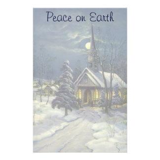 Vintagejul, vinterkyrka i snö med månen brevpapper
