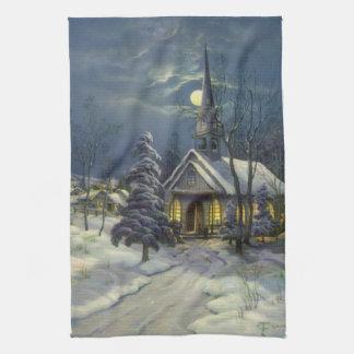 Vintagejul, vinterkyrka i snö med månen kökshandduk