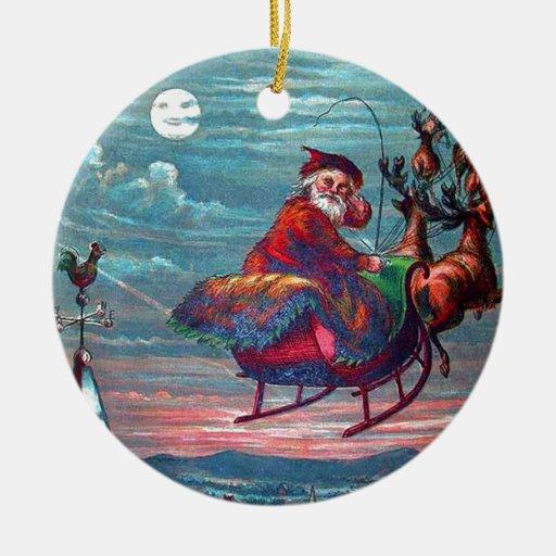 Vintagejulafton Santa och ren Julgransdekoration