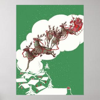 Vintagejulen, jultomten är kommande till townen affisch