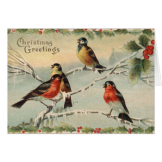 Vintagejulfåglar Hälsningskort