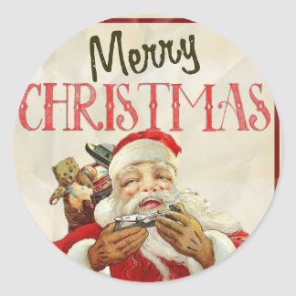 VintagejulKlistermärke-Santa Claus lycklig Runt Klistermärke