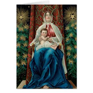 Vintagejulkort Madonna och barn Hälsningskort