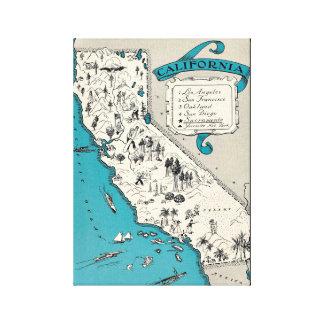 VintageKalifornien karta slågen in kanfas Canvastryck