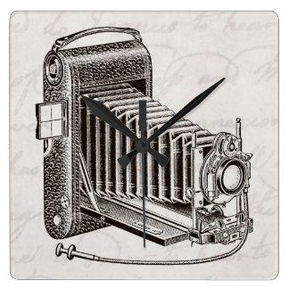 Vintagekamera - antik Retro kamerafotografi Fyrkantig Klocka