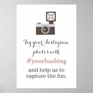 VintagekameraInstagram foto Hashtag undertecknar Poster
