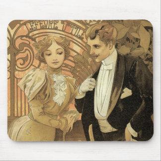 Vintagekärlekromantik art nouveau Alphonse Mucha Mus Mattor