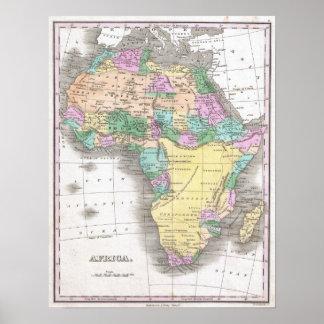 Vintagekarta av afrikan (1827) print