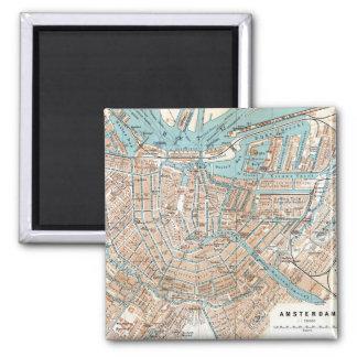 Vintagekarta av Amsterdam (1905) Magnet