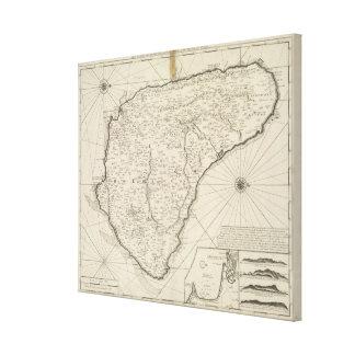 Vintagekarta av Barbados (1725) Canvastryck