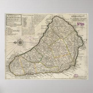 Vintagekarta av Barbados (1736) Poster