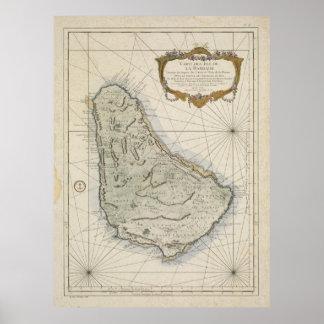 Vintagekarta av Barbados (1758) Poster