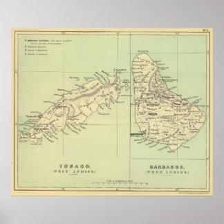Vintagekarta av Barbados och Tobago (1853) Poster