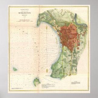 Vintagekarta av Burlington Vermont (1872) Poster