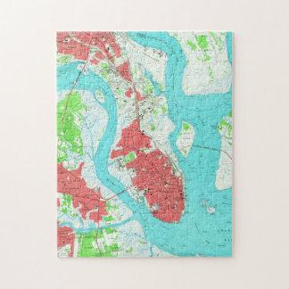 Vintagekarta av Charleston South Carolina (1958) 2 Pussel