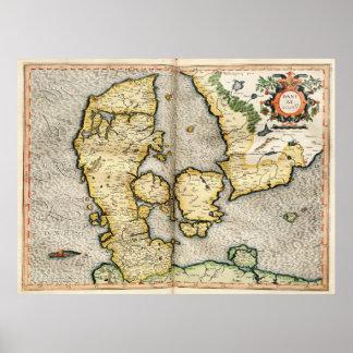 Vintagekarta av Danmark (1596) Poster