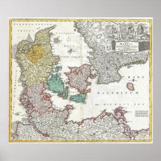 Vintagekarta av Danmark (1730) Poster