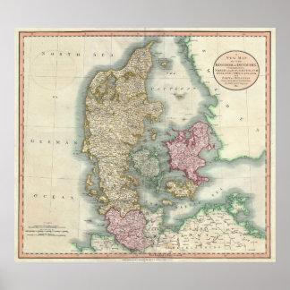 Vintagekarta av Danmark (1801) Poster