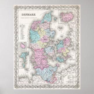 Vintagekarta av Danmark (1855) Poster
