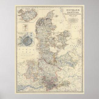 Vintagekarta av Danmark (1861) Poster