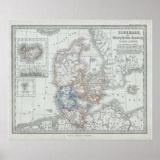 Vintagekarta av Danmark (1862) Poster