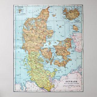 Vintagekarta av Danmark (1905) Poster