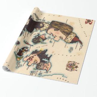 Vintagekarta av Danmark med illustrationer (1868) Presentpapper