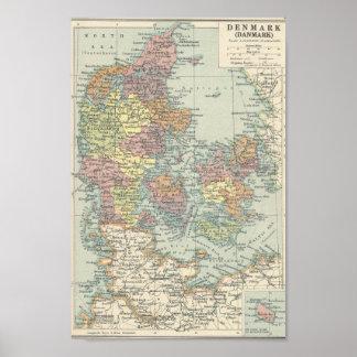 Vintagekarta av Danmark Poster