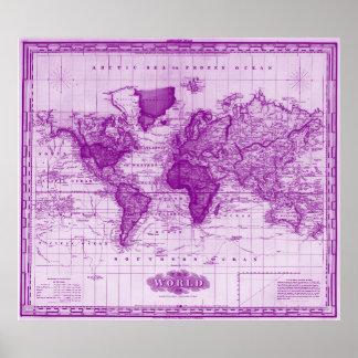 Vintagekarta av den 1833) viten & lilan för värld poster