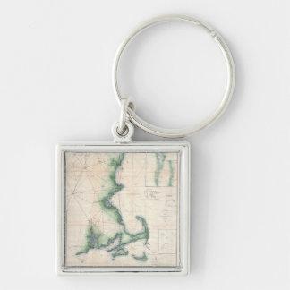 Vintagekarta av den Massachusetts kusten Fyrkantig Silverfärgad Nyckelring