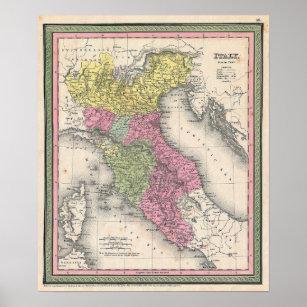 Karta Nord Italien.Venice Karta Konst Vaggdekor Zazzle Se