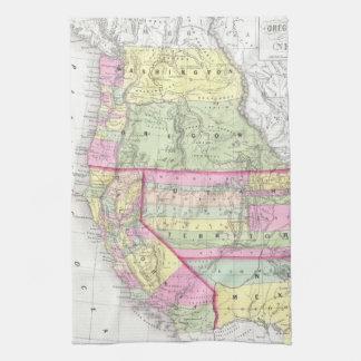 Vintagekarta av det westerna Unitedet States Kökshandduk