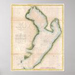 Vintagekarta av kust- Tampa Bay (1855) Affisch