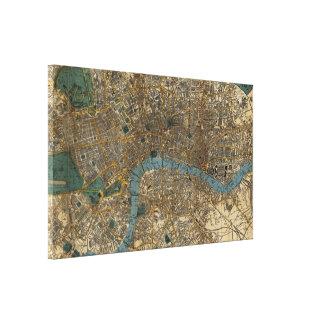 Vintagekarta av London England (1860) Canvastryck